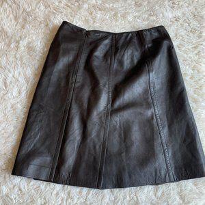 Escada Brown Lamb Leather Mini Classic Skirt